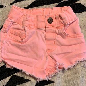 Highlighter orange distressed toddler shorts